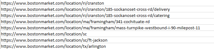 Example URLs found by scraping bostonmarket.com